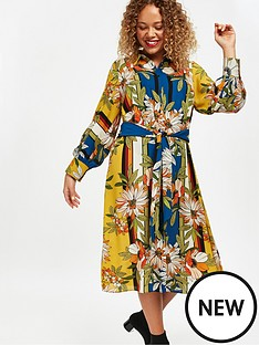 evans-forest-print-tie-shirt-dress-ochre