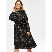 floral patchwork shirt dress