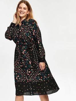 evans-floral-patchwork-midi-shirt-dress-black