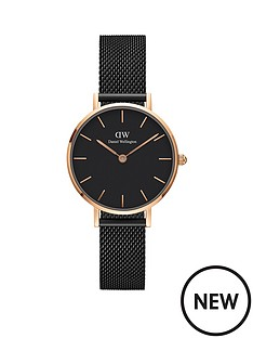 daniel-wellington-daniel-wellington-black-and-rose-gold-detail-28mm-dial-black-stainless-steel-mesh-strap-ladies-watch