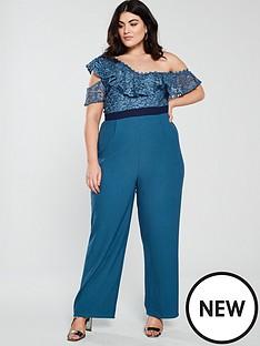 350b80cd79 Little Mistress Curve One Shoulder Crochet Jumpsuit - Blue