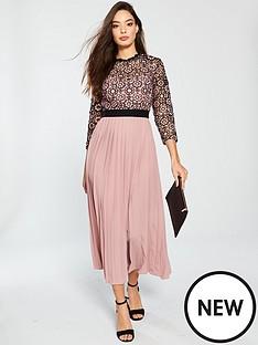 little-mistress-little-mistress-crochet-top-pleated-skirt-midaxi-dress