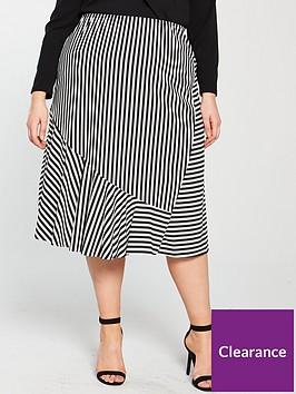 junarose-curve-jito-midi-skirt-blackwhite