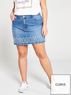 aed1db76dde9 V by Very Curve Embroidered Denim Skirt - Mid Wash