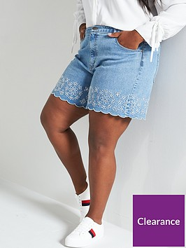 v-by-very-curve-cutwork-embroidered-denim-short-blue-wash