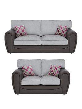 Very Moreno Faux Snakeskin And Fabric 3 Seater + 2 Seater Standard Back  ... Picture