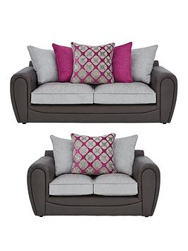 Very Moreno Faux Snakeskin And Fabric 3 Seater + 2 Seater Scatter Back  ... Picture