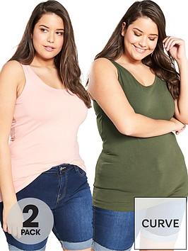 v-by-very-curve-2-pack-longline-vests-khaki-blush