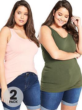 V by Very Curve V By Very Curve 2 Pack Longline Vests - Khaki Blush Picture