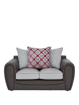 Very Moreno Faux Snakeskin And Fabric 2 Seater Scatter Back Sofa Picture