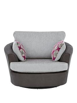 Very Moreno Faux Snakeskin And Fabric Swivel Chair Picture