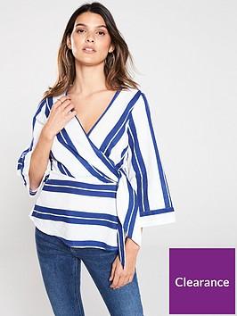 v-by-very-linen-wrap-top-stripe