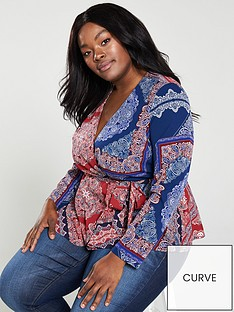 v-by-very-curve-printed-wrap-belted-blouse-multi