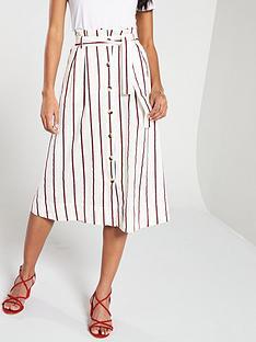 v-by-very-stripe-belted-linen-skirt