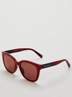 tommy-hilfiger-red-rectangle-sunglasses