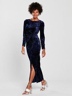 wallis-velvet-maxi-dress-bluenbsp