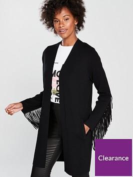 wallis-tassel-sleeve-longline-cardigan-black