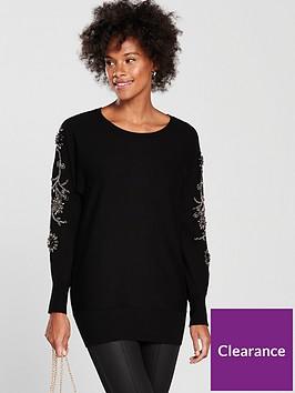 wallis-embellished-sleeve-batwing-jumper-black