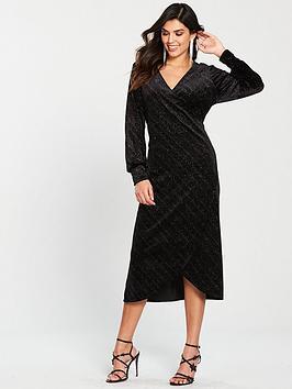 2132065e0a6 Warehouse Glitter Velvet Wrap Midi Dress