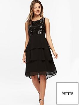 wallis-petite-sequin-hem-dress-black