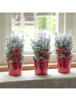 set-of-3-mini-living-christmas-trees-with-snow-effect-and-red-zinc-pots