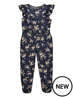 f149bfc42aa2 Mini V by Very Girls Floral Jumpsuit - Navy