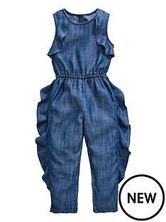 3d77a7f71688 Mini V by Very Girls Denim Ruffle Jumpsuit - Denim