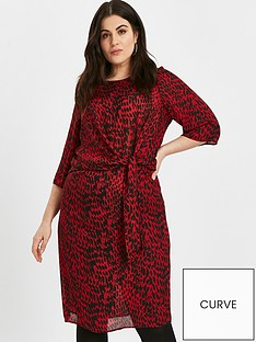evans-red-animal-tie-front-dress