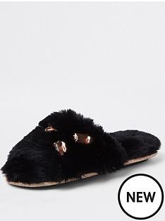 river-island-river-island-embellished-detail-faux-fur-slippers--black