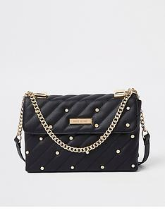 river-island-river-island-pearl-detail-quilted-bag--black