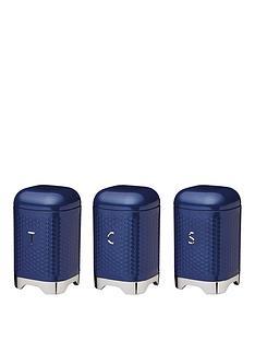 kitchencraft-lovello-tea-coffee-and-sugar-canisters--nbspmidnight-navy-blue