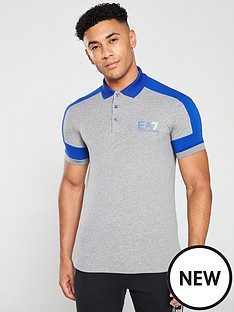 d5192866 EA7 Emporio Armani 7 Stripes Polo Shirt - Grey | littlewoods.com