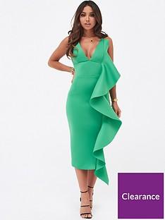lavish-alice-draped-frill-midi-scuba-dress-green