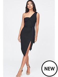 lavish-alice-lavish-alice-ponte-asymmetric-one-shoulder-dress-in-black
