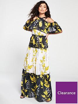 forever-unique-birdie-leaf-print-cold-shoulder-maxi-dress-multi