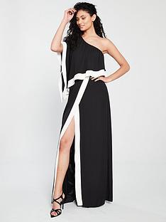 forever-unique-keen-one-shoulder-maxi-dress-black-ivory