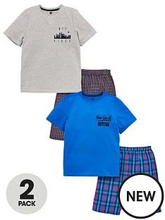 v-by-very-boys-2-pack-t-shirt-amp-woven-checked-shorts-pj-set-multi