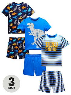 mini-v-by-very-boys-3-pack-dinosaur-amp-stripe-shortie-pjsnbsp--multi