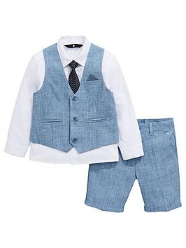 V by Very V By Very Boys Occasion Shorts Waistcoat Shirt &Amp; Tie Set -  ... Picture