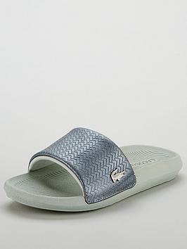 0c269de2a Lacoste Croco Slide 119 6 Cfa Flat Sandal - Silver White ...