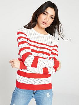 v-by-very-breton-stripe-mesh-panel-button-detail-jumper-multi