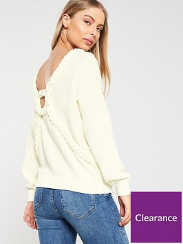 v-by-very-braided-cable-cut-out-back-boat-neck-jumper-cream