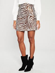 river-island-river-island-metallic-zebra-print-mini-skirt-brown