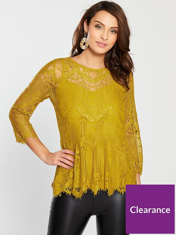 Lace Peplum Blouse Yellow