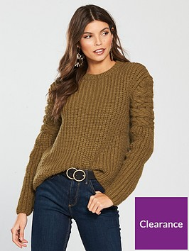river-island-cable-knit-jumper-khaki