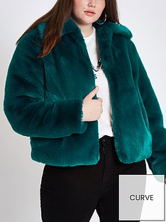 ri-plus-faux-fur-short-jacket-teal