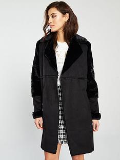 river-island-faux-fur-longline-jacket-black
