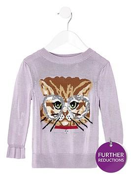 river-island-mini-girls-sequin-cat-knitted-jumper