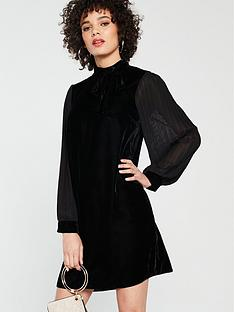river-island-river-island-velvet-pussybow-swing-dress-black