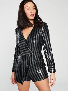 river-island-stripe-shimmer-playsuit-silver